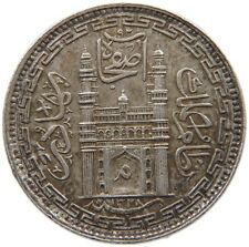 INDIA PRINCELY STATES 1/2 RUPEE 8 ANNAS 1328 HYDERABAD TOP #s44 535