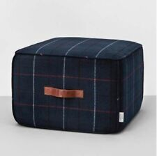 Hearth & Hand with Magnolia Pouf Ottoman Noble Blue Plaid Leather Handles Wool N