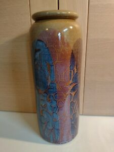 DIANA WORTHY CRICH POTTERY TREES PATTERN PINK BLUE & BROWN TALL VASE