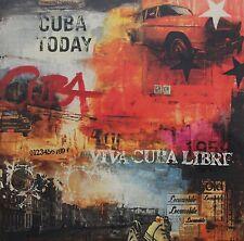 "KOMBI KUNSTDRUCK & ORIGINAL MALEREI ""HAVANNA CUBA TODAY"" 100x100cm auf LEINWAND"