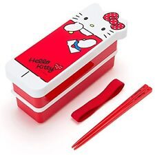 New SANRIO Hello Kitty Kitty-shaped Bento box double deck lunch F/S