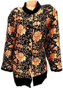 Draper's & Damon's black gold floral velour trim 3/4 sleeves buttoned jacket 3X