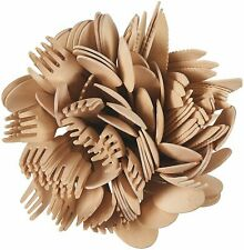 100 Pcs Wooden Cutlery Set 50 Forks 25 Spoons 25 Knives Biodegradable Compost