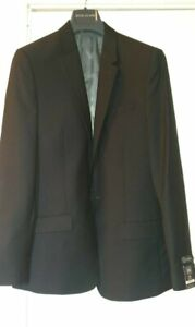 River Island Mens Black Slim Fit Suit Jacket Size 38R and Trousers W32 L34