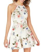Speechless White Size 3 Junior A-Line Dress Halter Floral Print Tiered $69 313
