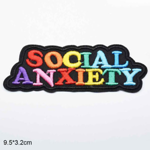 Social Anxiety  - Friends Funny Iron on Embroidery Cloth Patch Sew Badge Clothes