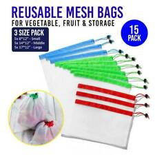 15 Pcs Reusable Mesh Produce Bags Vegetable Fruit Storage Grocery