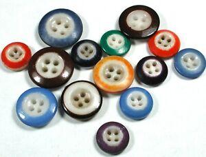 """14 Antique China Porcelain Buttons Various Colors & Designs 7/16 -11/16"""""""