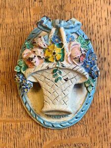 Vintage Blue Antique Cast Iron Flower Basket Bedroom Door Knocker