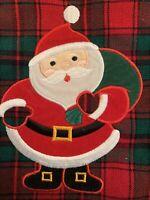 "VINTAGE CHRISTMAS STOCKING RED WOOL PLAID SANTA CLAUS SOCK APPLIQUÉ 16"""