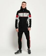 Superdry Men Full Tracksuit Gym Tech Stretch Zip Hoodie & Taped Joggers Large