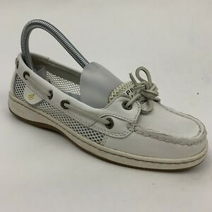 SPERRY Top-Sider Womens 6.5 M 9102468 CH73 White Leather Mesh Boat Deck Shoes