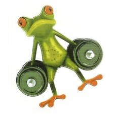 Frog Decal/Sticker-Funny/Cute-for Wall/Car, Etc-Waterproof/Dumbbell/5 x 5 Inch!!