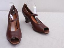 CLARKS ARTISAN Womens 8.5 Brown Leather Open Toe Mary Jane Pumps Heels Shoes