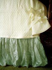 "Soft Surroundings Balloon Bedskirt Sage King 18"" Drop"