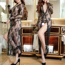 Women Sexy/Sissy Lace Lingerie Sheer Robe See Through Thong Underwear Nightwear