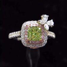 Ct Cushion Green Peridot Pink Simulant Diamond Ribbon Ring Silver White Gold Fns