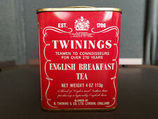Twinings English Breakfast Tea Tin Vintage Red Metal Square Can London England