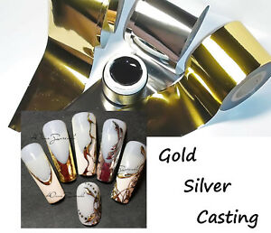 Black Farbgel Gel Paint and 3m of Silver Gold Foils for Casting Nail Art