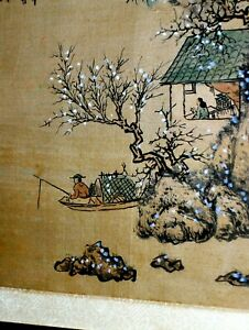 ANTIQUE Large Chinese Landscape Silk Painting Mountain Boat Temples Man Woman