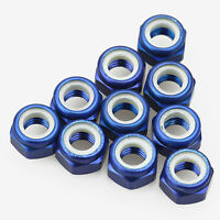 10PCS ALIENTAC Aluminum M5 Blue Nylon Hex Insert Self-Lock Nuts