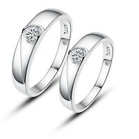 His and Hers Certified Sterling Silver Heart Shape Solitaire Promise Rings