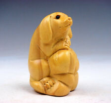 Boxwood Hand Carved Netsuke Sculpture Lovely Puppy Dog Hugging Bag #12041601