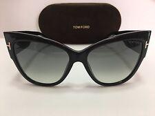 New Authentic TOM FORD ANOUSHKA TF371F 01B Shiny Black/Gray Gradient Sunglasses