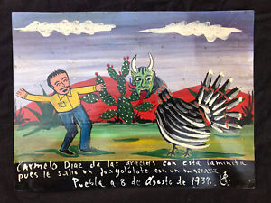 Mexican Folk Art Man Attacked By Vicious Masked Turkey Ex Voto Retablo
