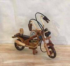 Small Light Wood Motorbike Wooden Motorcycle Ornament Handmade 20cm Long