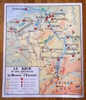 carte d'école - affiche scolaire 1960 Rossignol - cote de la manche - le rhin