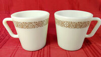 CORELLE PYREX Coffee Cups Mugs D Handle 8 oz Woodland Brown 1410 Set 2 Vintage