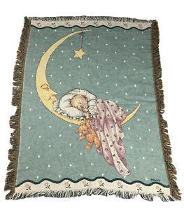 Vtg Throw Blanket Baby Sleeping On The Moon Star Bryan Fringe Tapestry