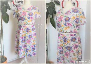 Vintage 80s White Cotton Pink & Purple Large Floral Print Midi Sun Dress Size 16