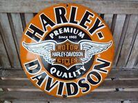 "HARLEY Porcelain Sign Vintage Motorcycle Advertising 20"" Domed Collectible Biker"