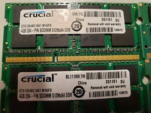 Crucial 8GB (2x4GB) PC3-8500 DDR3-1066 Laptop Memory RAM CT51264BC1067.M16FD