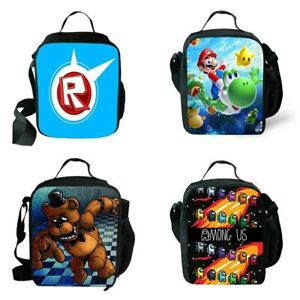 Kids Super Mario Roblox Insulated Lunch Box Bag Outing School Food Picnic Bag UK