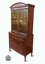 Antique Flint & Horner #611 Federal China Cabinet Hutch 1920's, Teak.