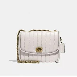 ❤️ Coach Quilted Leather Madison Brass/Chalk Shoulder Bag Original Packaging
