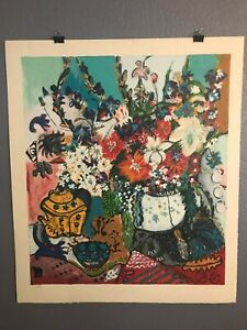 Bracha Guy, painted oil Floral serigraph. Signed 119/250, Title Unknown