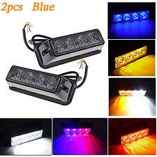2pcs 4 LED Car Emergency Beacon Light Bar 3 Flashing Mode 4W Strobe light Blue