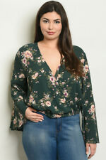 Womens Plus Size Green Floral Bell Sleeve Top 3XL