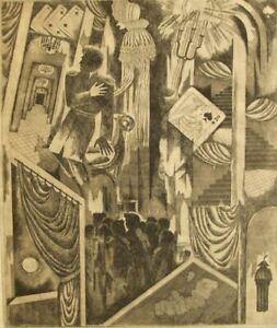 Anatoly Yakovlevich Pischikov original Fantastical Russian etching;1960's