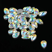 48PCS Crystal AB Water Drop Rhinestones Sew On Flatback Glass Chaton 2 Holes