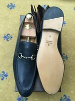 New Gucci Mens Shoes Blue Leather Horsebit Loafers UK 17 US 18 EU 51 Jordaan