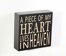 "5.75""H  ""A Piece Of My Heart Lives in Heaven"" Wood Box Hanging Sign Home decor"
