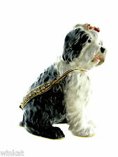 Old English Sheepdog Dog Bejeweled Trinket Box