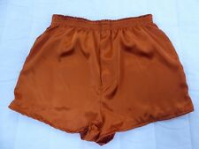 Burnt Orange Satin Boxer Shorts  in Small  with  Free Postage