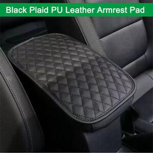 Black Plaid Auto Center Console Pad PU Leather Armrest Seat Box Cover Protector