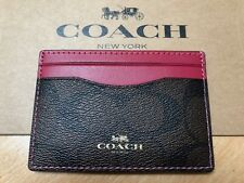 COACH New York Brown / Pink Card Holder! NEW GENUINE BOXED Wallet Purse RRP $65